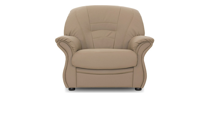 1-zits bank bruin, fauteuil taupe